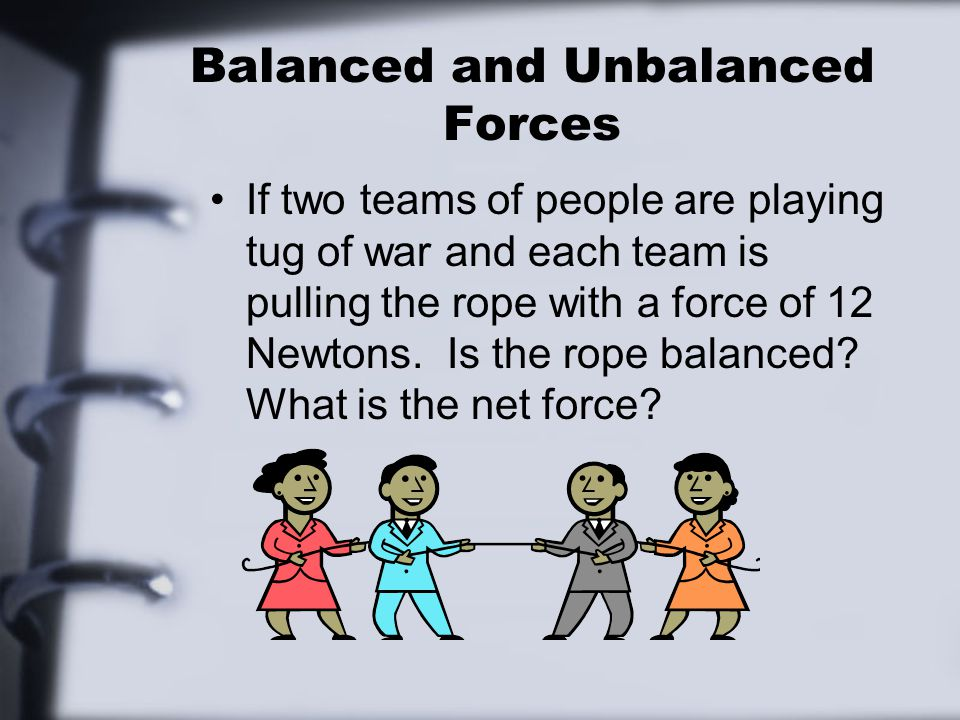 Balanced and Unbalanced Forces If two teams of people are playing tug of war and each team is pulling the rope with a force of 12 Newtons.