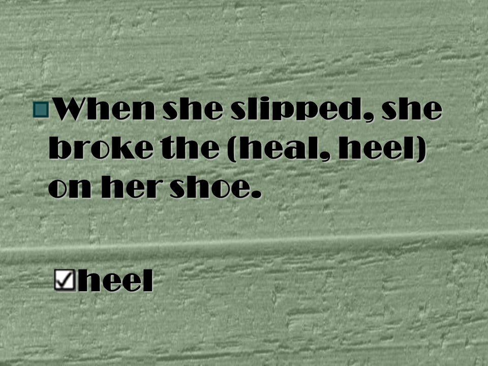 When she slipped, she broke the (heal, heel) on her shoe. heel