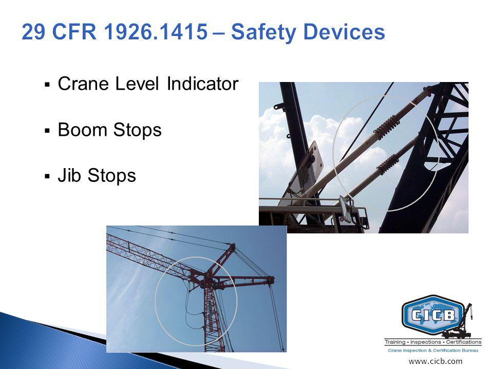  Crane Level Indicator  Boom Stops  Jib Stops www.cicb.com