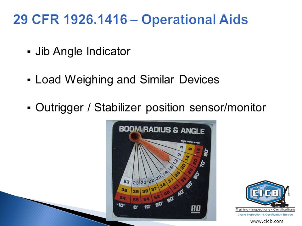  Jib Angle Indicator  Load Weighing and Similar Devices  Outrigger / Stabilizer position sensor/monitor www.cicb.com
