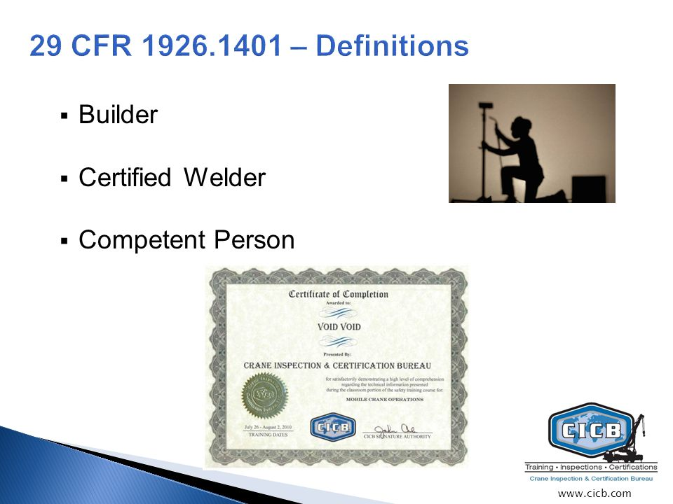  Builder  Certified Welder  Competent Person www.cicb.com