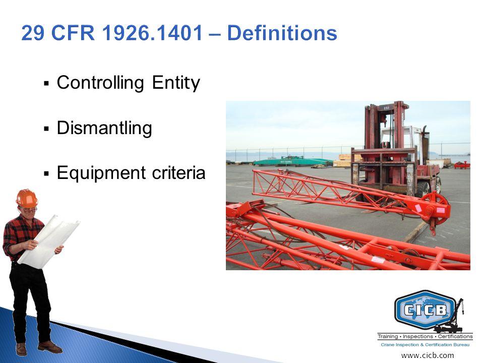  Controlling Enti ty  Dismantling  Equipment criteria www.cicb.com