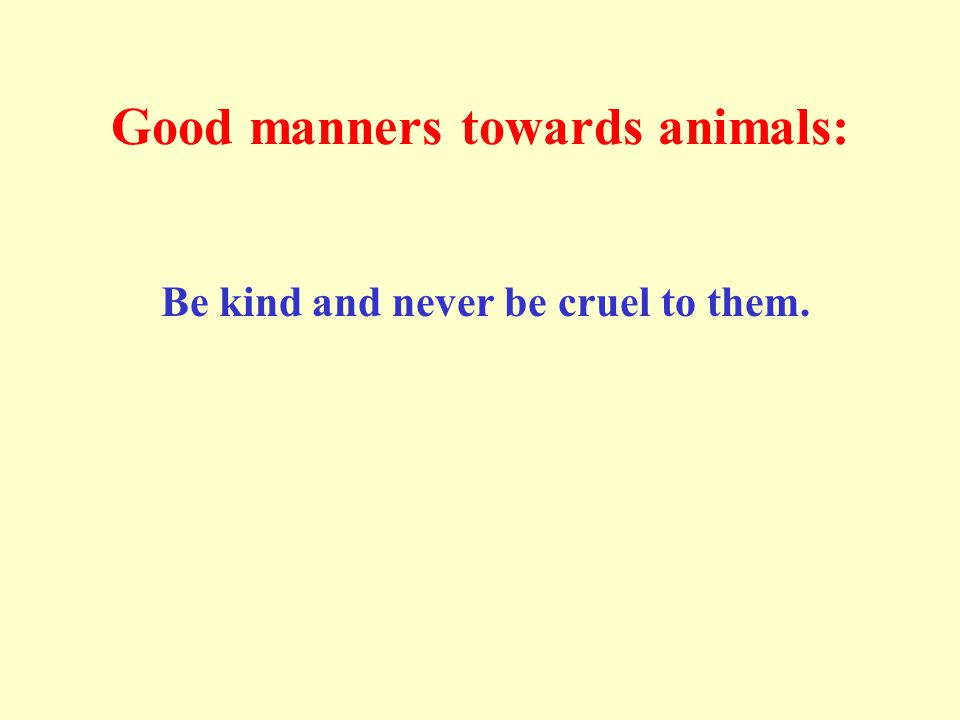 Good manners towards animals: Be kind and never be cruel to them.