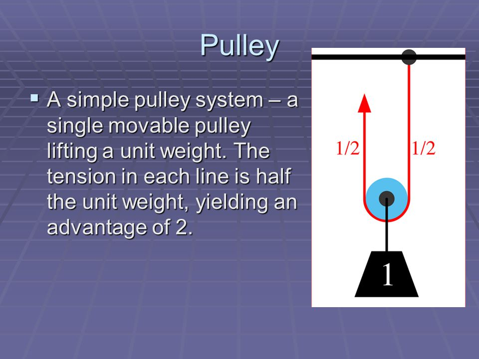 Pulley  A simple pulley system – a single movable pulley lifting a unit weight.