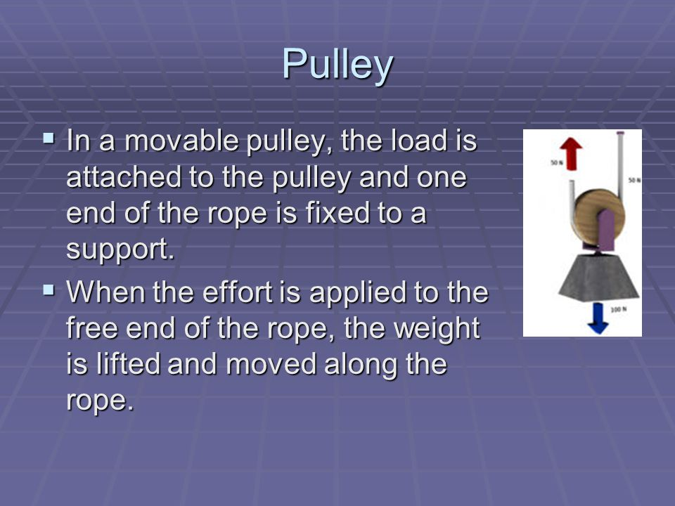 Pulley  In a movable pulley, the load is attached to the pulley and one end of the rope is fixed to a support.