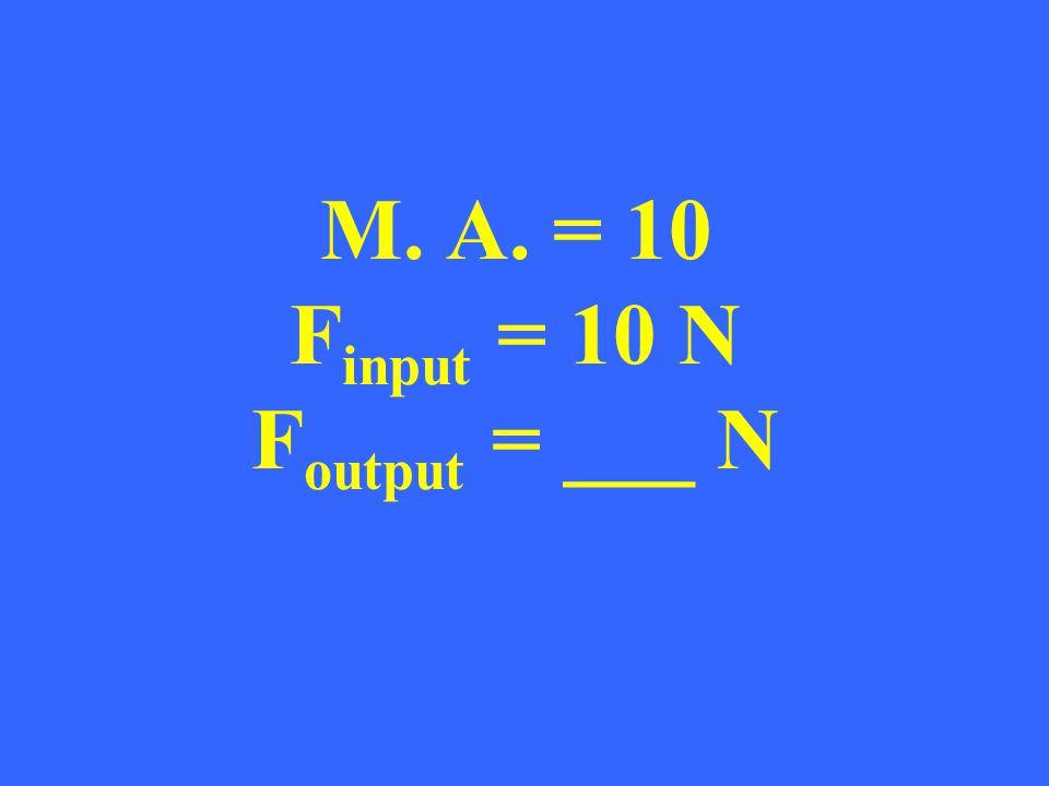 M. A. = 10 F input = 10 N F output = ___ N