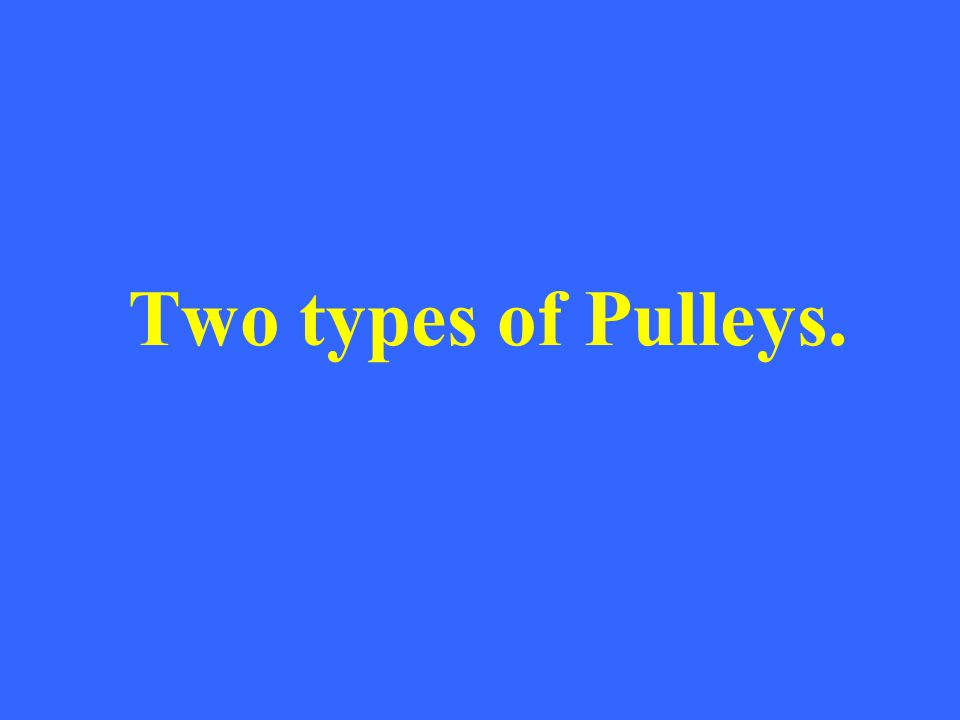 Two types of Pulleys.
