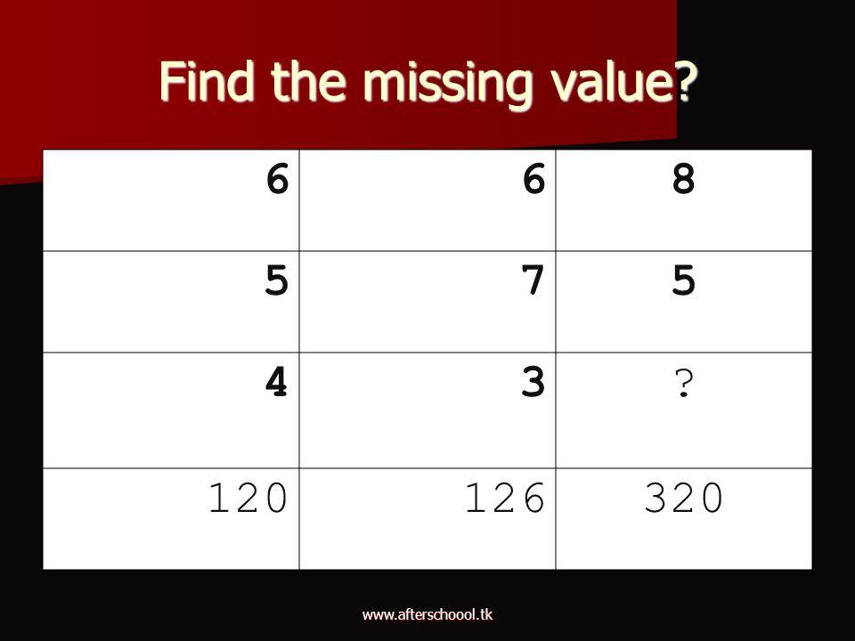 www.afterschoool.tk Find the missing value? 668 575 43? 120126320