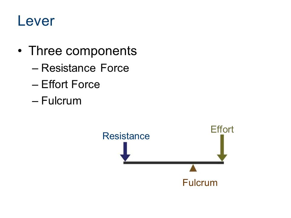 Lever Three components –Resistance Force –Effort Force –Fulcrum Resistance Effort Fulcrum