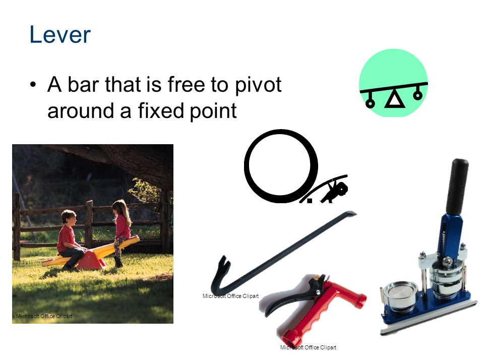 Lever A bar that is free to pivot around a fixed point Microsoft Office Clipart