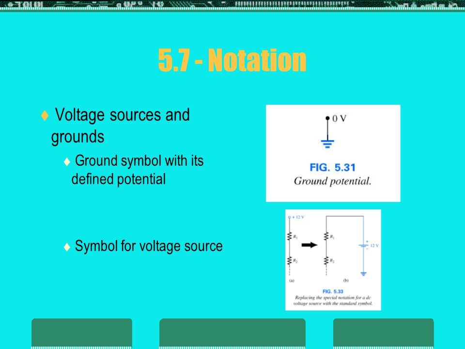  Voltage sources and grounds  Ground symbol with its defined potential  Symbol for voltage source 5.7 - Notation