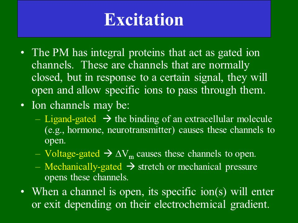 Excitation The PM has integral proteins that act as gated ion channels. These are channels that are normally closed, but in response to a certain sign