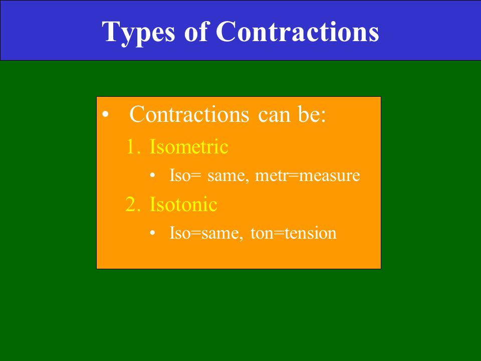 Types of Contractions Contractions can be: 1.Isometric Iso= same, metr=measure 2.Isotonic Iso=same, ton=tension