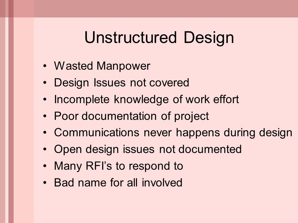Wasted Manpower Design Issues not covered Incomplete knowledge of work effort Poor documentation of project Communications never happens during design Open design issues not documented Many RFI's to respond to Bad name for all involved Unstructured Design