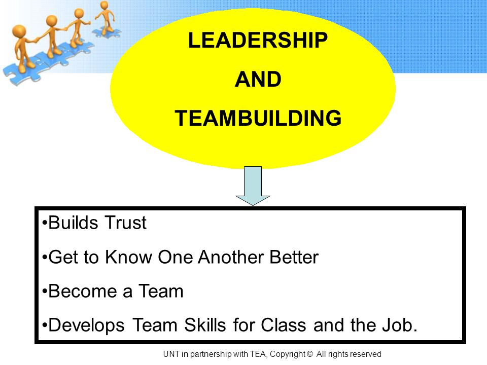 LEADERSHIP AND TEAMBUILDING Builds Trust Get to Know One Another Better Become a Team Develops Team Skills for Class and the Job. UNT in partnership w