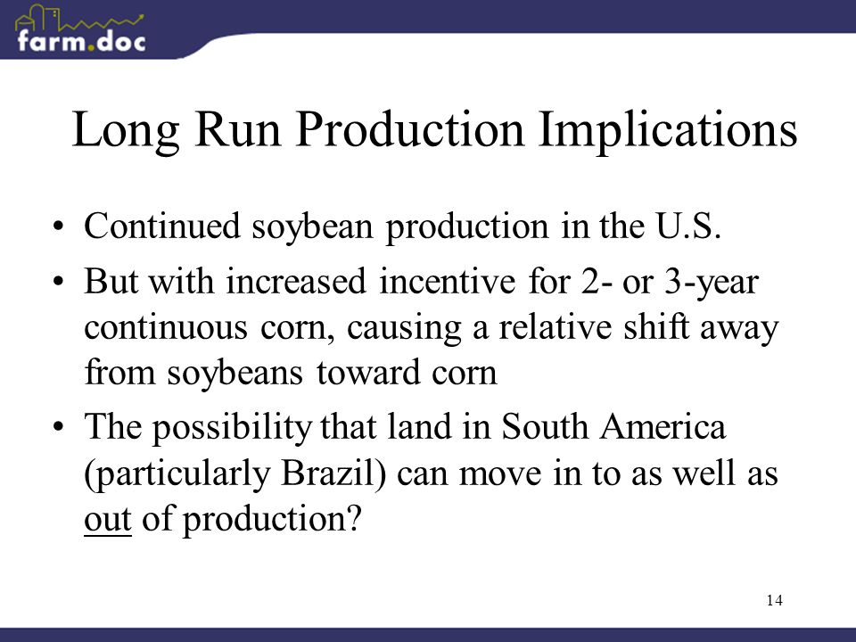 14 Long Run Production Implications Continued soybean production in the U.S.