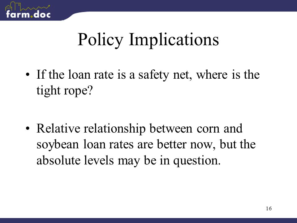16 Policy Implications If the loan rate is a safety net, where is the tight rope.