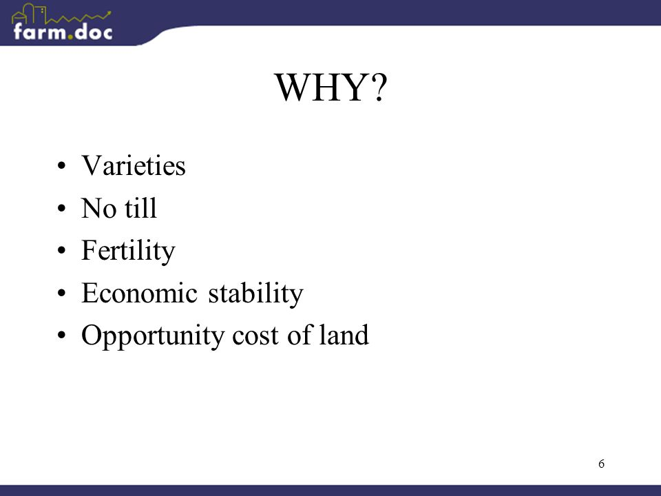 6 WHY Varieties No till Fertility Economic stability Opportunity cost of land
