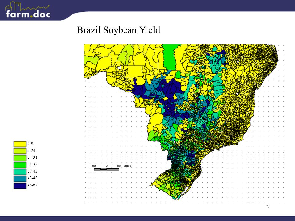 7 Brazil Soybean Yield 0-9 9-24 24-31 31-37 37-43 43-48 48-67