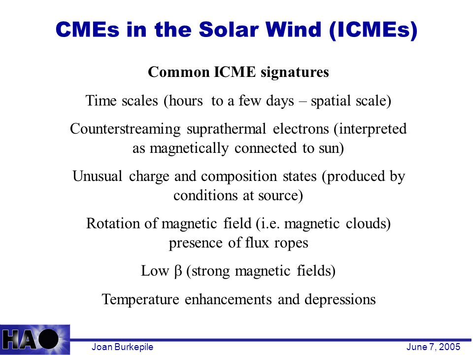 CMEs in the Solar Wind (ICMEs) Joan BurkepileJune 7, 2005 Common ICME signatures Time scales (hours to a few days – spatial scale) Counterstreaming suprathermal electrons (interpreted as magnetically connected to sun) Unusual charge and composition states (produced by conditions at source) Rotation of magnetic field (i.e.