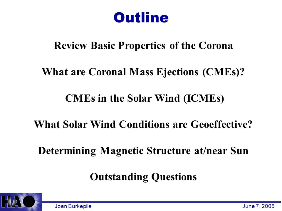 Outline Joan BurkepileJune 7, 2005 Review Basic Properties of the Corona What are Coronal Mass Ejections (CMEs).
