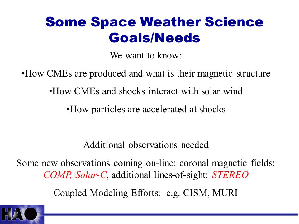 Some Space Weather Science Goals/Needs We want to know: How CMEs are produced and what is their magnetic structure How CMEs and shocks interact with solar wind How particles are accelerated at shocks Additional observations needed Some new observations coming on-line: coronal magnetic fields: COMP, Solar-C, additional lines-of-sight: STEREO Coupled Modeling Efforts: e.g.
