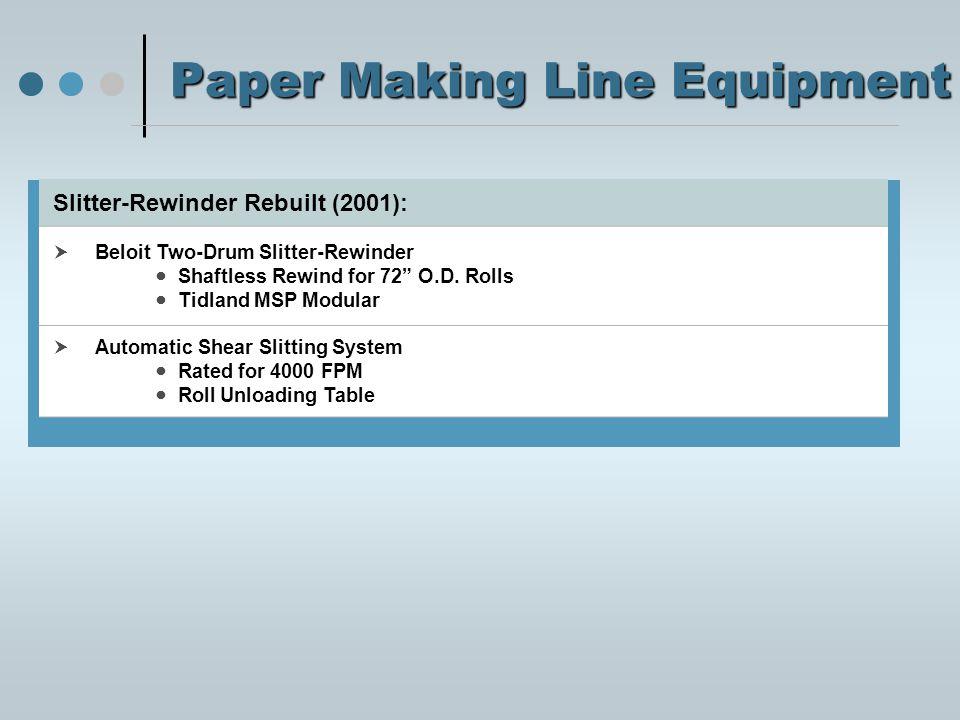 Paper Making Line Equipment Slitter-Rewinder Rebuilt (2001):  Beloit Two-Drum Slitter-Rewinder Shaftless Rewind for 72 O.D.
