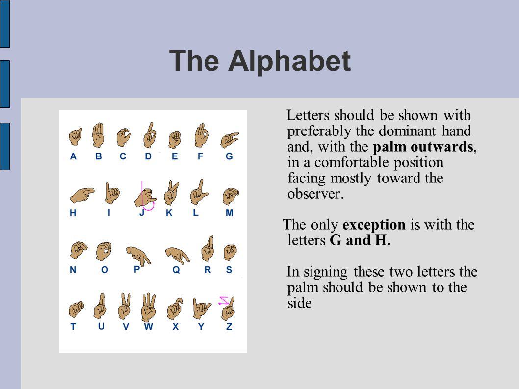 The Alphabet Correct position signing: The position of the hand should remain steady at the starting point or follow the line of writing.
