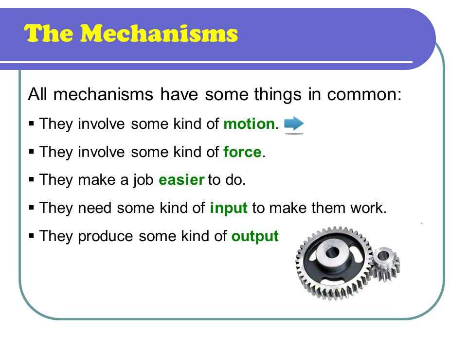 All mechanisms have some things in common:  They involve some kind of motion.