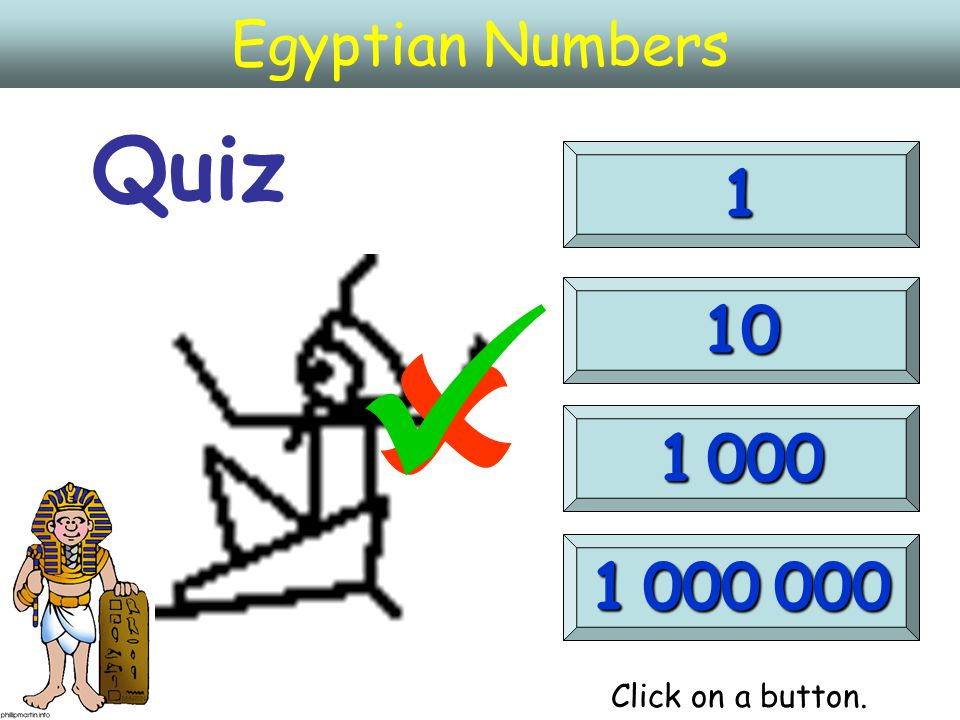 Egyptian Numbers Quiz 1 10 1 000 000 1 000  Click on a button.
