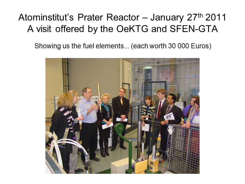 Atominstitut's Prater Reactor – January 27 th 2011 A visit offered by the OeKTG and SFEN-GTA Showing us the fuel elements...