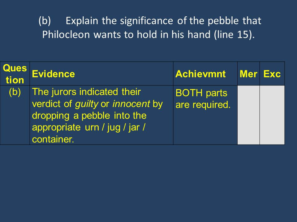 (b)Explain the significance of the pebble that Philocleon wants to hold in his hand (line 15). Ques tion EvidenceAchievmntMerExc (b) The jurors indica