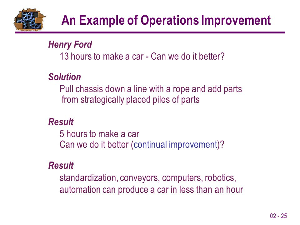 02 - 25 Result standardization, conveyors, computers, robotics, automation can produce a car in less than an hour Henry Ford 13 hours to make a car - Can we do it better.