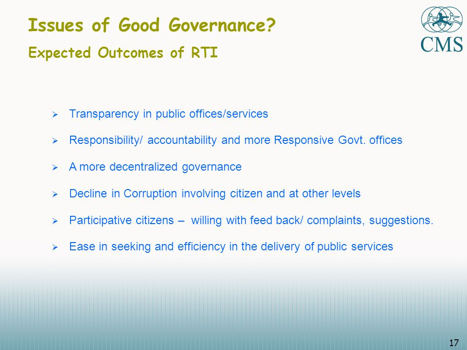 17 Issues of Good Governance.