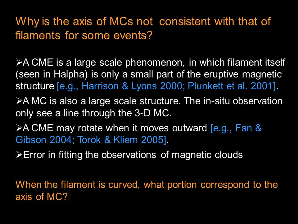 Why is the axis of MCs not consistent with that of filaments for some events.