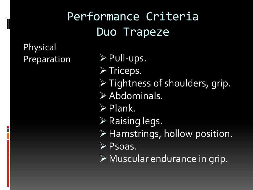 Performance Criteria Duo Trapeze Physical Preparation  Pull-ups.