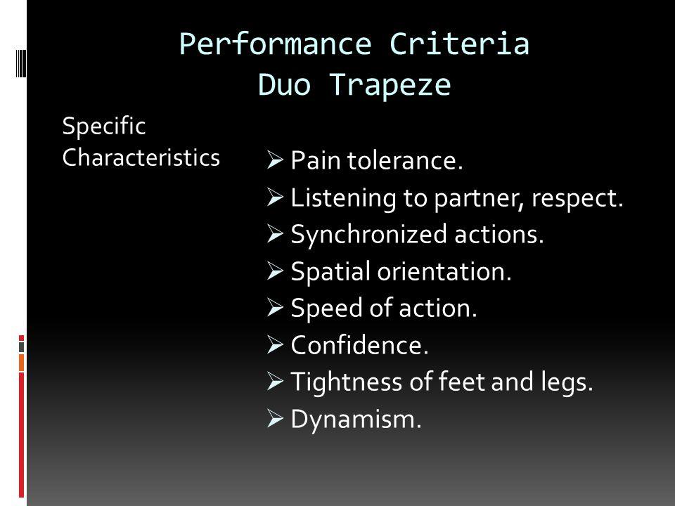 Performance Criteria Duo Trapeze Specific Characteristics  Pain tolerance.