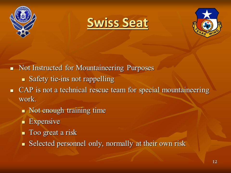 Swiss Seat Not Instructed for Mountaineering Purposes Not Instructed for Mountaineering Purposes Safety tie-ins not rappelling Safety tie-ins not rapp