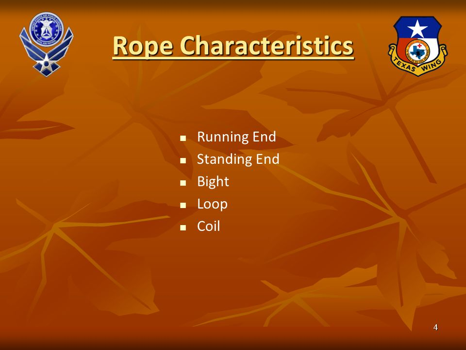 Rope Characteristics Running End Standing End Bight Loop Coil 4