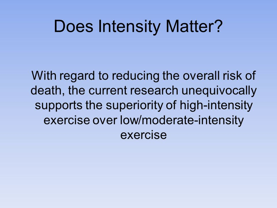 Does Intensity Matter.