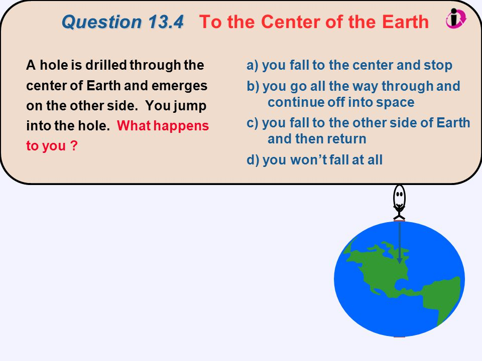 Question 13.4 Question 13.4 To the Center of the Earth A hole is drilled through the center of Earth and emerges on the other side.