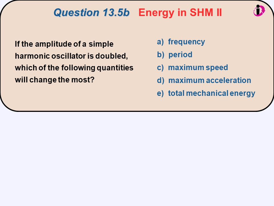 If the amplitude of a simple harmonic oscillator is doubled, which of the following quantities will change the most.