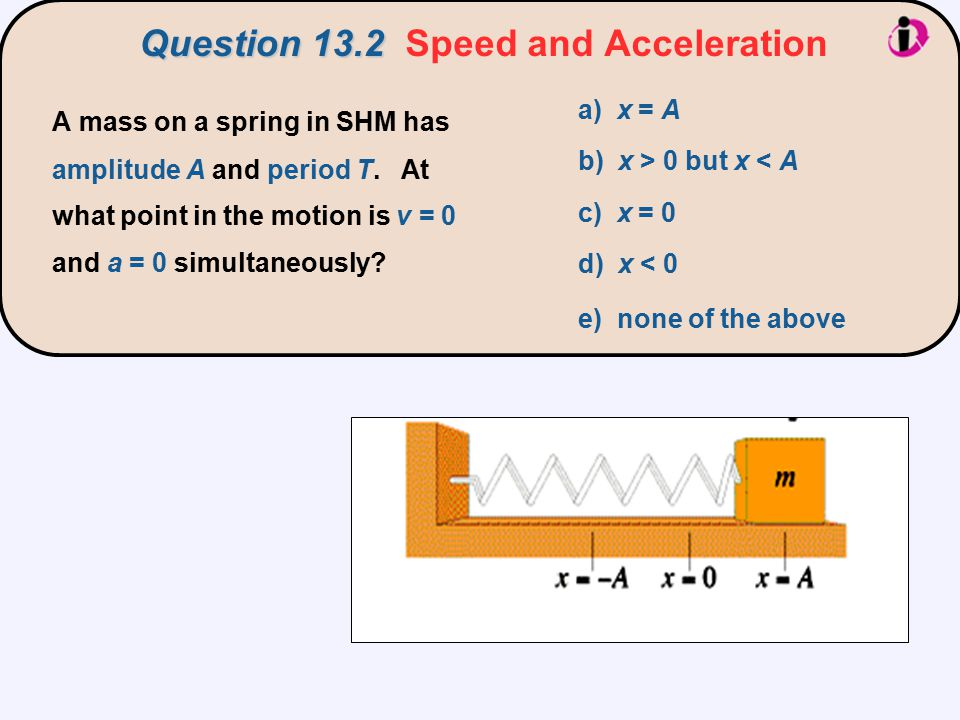 Question 13.2 Question 13.2 Speed and Acceleration a) x = A b) x > 0 but x < A c) x = 0 d) x < 0 e) none of the above A mass on a spring in SHM has am