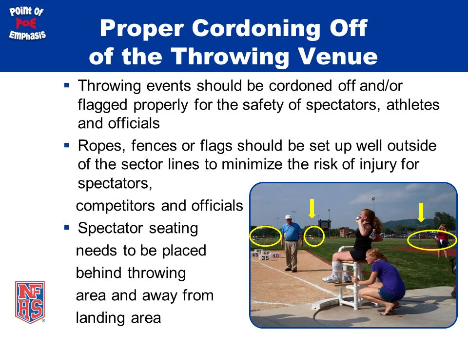 Proper Cordoning Off of the Throwing Venue  Throwing events should be cordoned off and/or flagged properly for the safety of spectators, athletes and officials  Ropes, fences or flags should be set up well outside of the sector lines to minimize the risk of injury for spectators, competitors and officials  Spectator seating needs to be placed behind throwing area and away from landing area