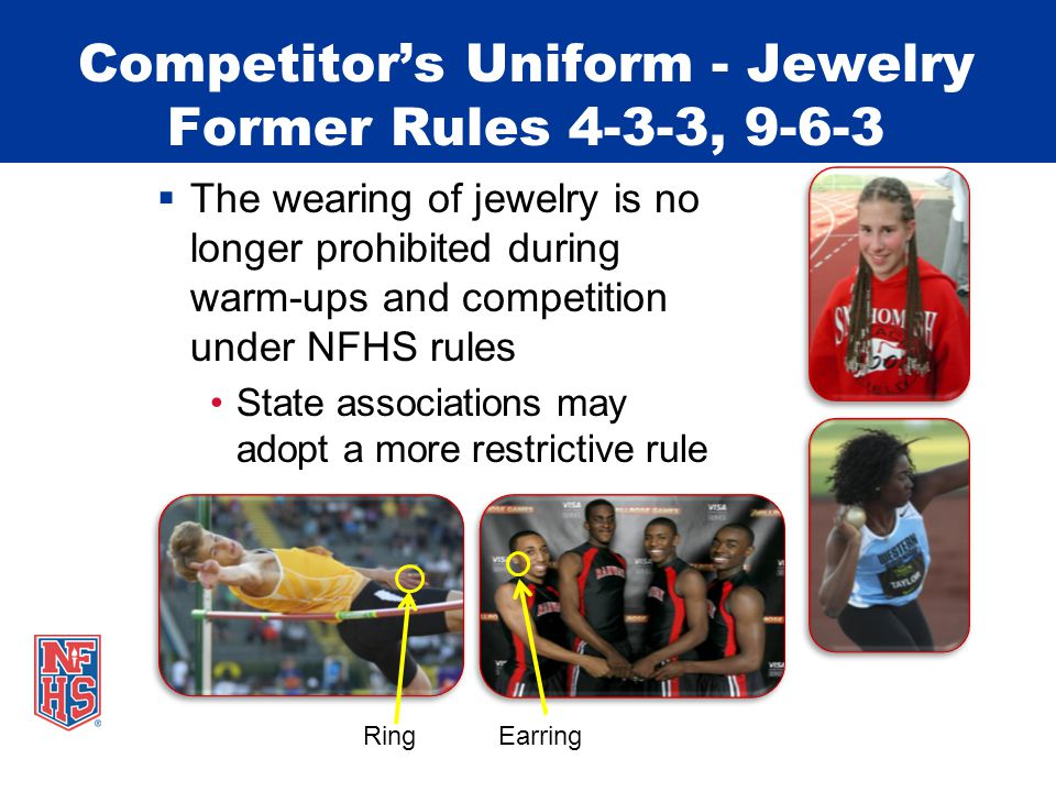 Competitor's Uniform Watch  Wearing of a watch continues to be permitted Use of GPS function is not permitted By state association policy the wearing of a watch could be prohibited