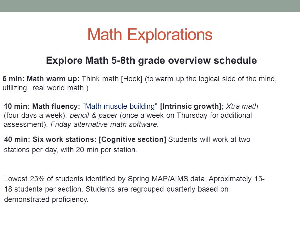 Math Explorations Explore Math 5-8th grade overview schedule 5 min: Math warm up: Think math [Hook] (to warm up the logical side of the mind, utilizing real world math.) 10 min: Math fluency: Math muscle building [Intrinsic growth]; Xtra math (four days a week), pencil & paper (once a week on Thursday for additional assessment), Friday alternative math software.