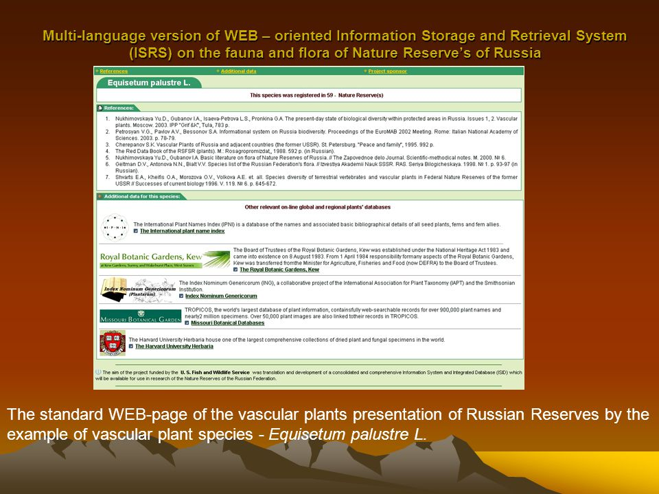 Multi-language version of WEB – oriented Information Storage and Retrieval System (ISRS) on the fauna and flora of Nature Reserve's of Russia The standard WEB-page of the vascular plants presentation of Russian Reserves by the example of vascular plant species - Equisetum palustre L.