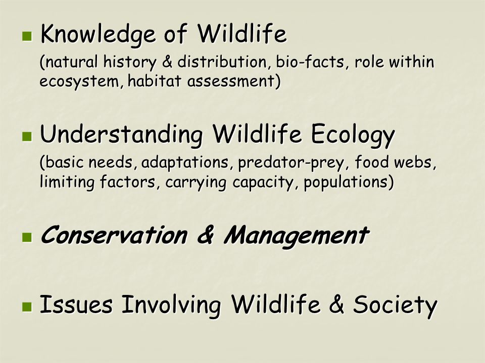 Knowledge of Wildlife Knowledge of Wildlife (natural history & distribution, bio-facts, role within ecosystem, habitat assessment) Understanding Wildlife Ecology Understanding Wildlife Ecology (basic needs, adaptations, predator-prey, food webs, limiting factors, carrying capacity, populations) Conservation & Management Conservation & Management Issues Involving Wildlife & Society Issues Involving Wildlife & Society