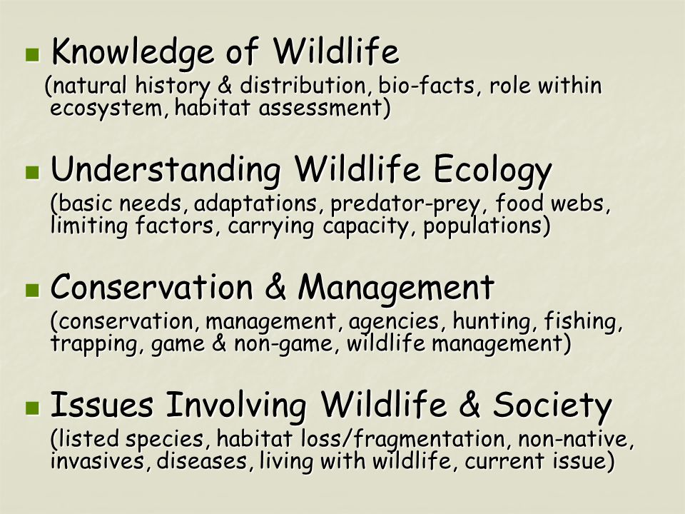 Knowledge of Wildlife Knowledge of Wildlife (natural history & distribution, bio-facts, role within ecosystem, habitat assessment) (natural history & distribution, bio-facts, role within ecosystem, habitat assessment) Understanding Wildlife Ecology Understanding Wildlife Ecology (basic needs, adaptations, predator-prey, food webs, limiting factors, carrying capacity, populations) Conservation & Management Conservation & Management (conservation, management, agencies, hunting, fishing, trapping, game & non-game, wildlife management) Issues Involving Wildlife & Society Issues Involving Wildlife & Society (listed species, habitat loss/fragmentation, non-native, invasives, diseases, living with wildlife, current issue)