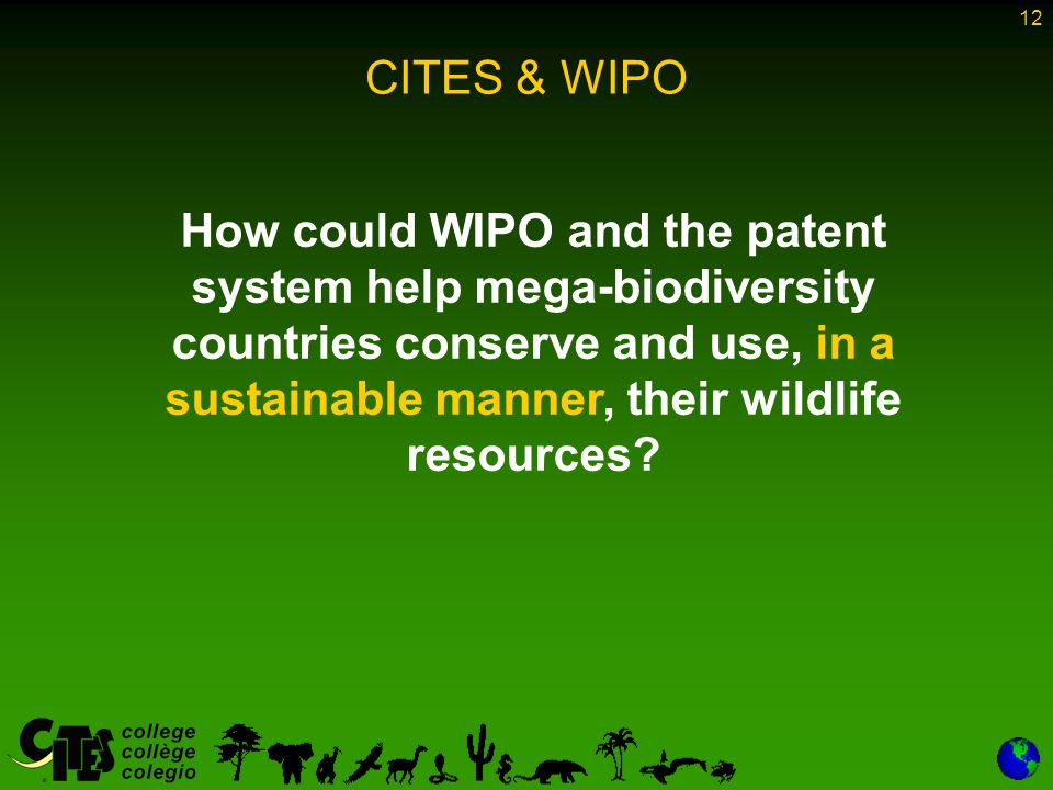 12 CITES & WIPO How could WIPO and the patent system help mega-biodiversity countries conserve and use, in a sustainable manner, their wildlife resources?